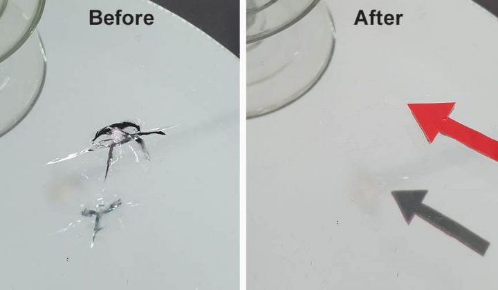 Before after windshield repair